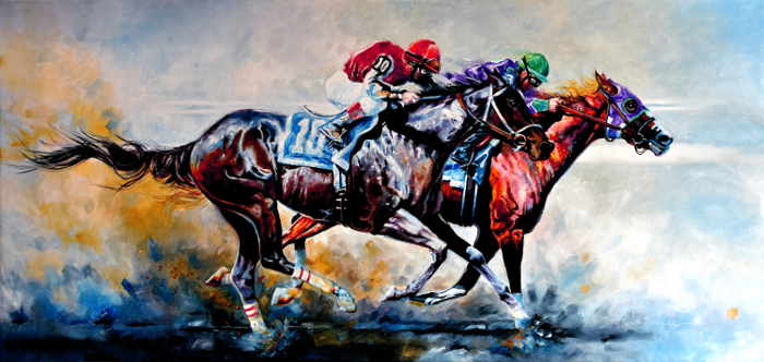 Painting Of California Chrome winning the The Preakness Stakes