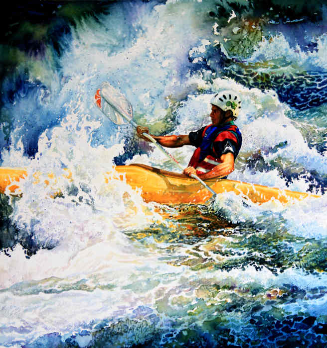 White Water Kayaking Watercolor Painting
