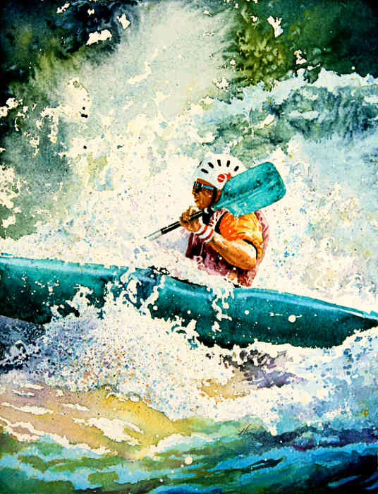 white water kayaking art