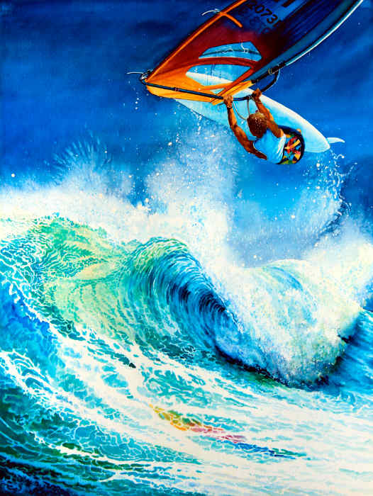 wind surfing painting sailboarding sports art