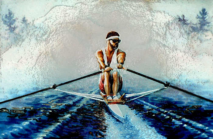 Henley Regatta scull rowing painting with digital special effects