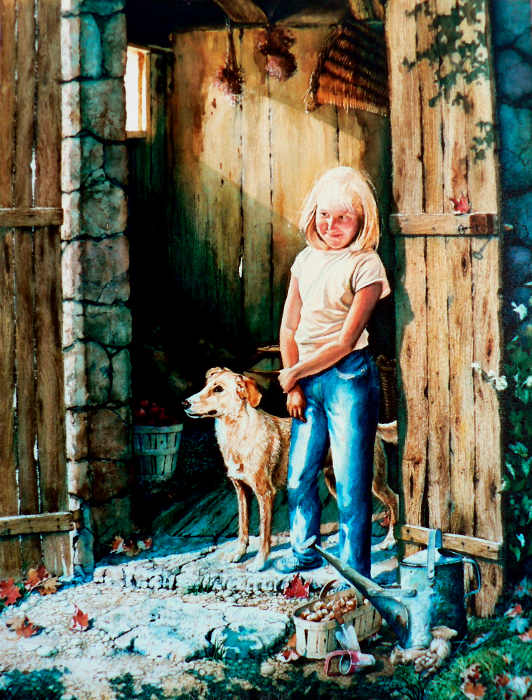puppy love painting of girl with dog