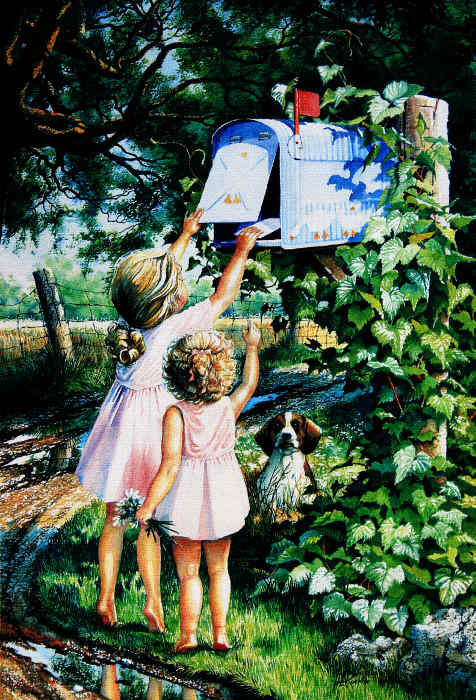 painting of children playing at a mailbox