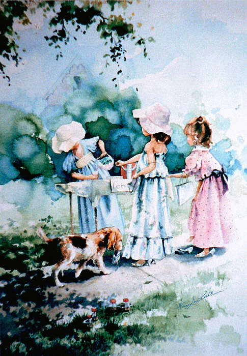 painting of girls playing dressup at sidewalk lemonade stand