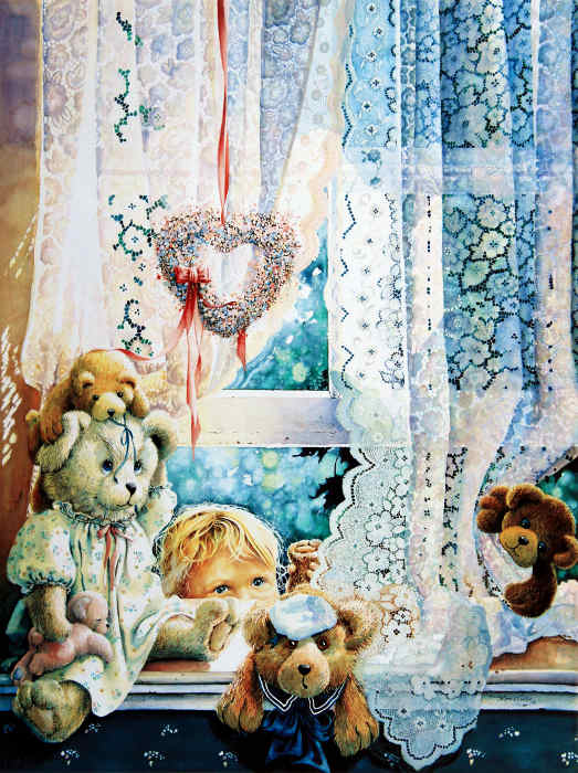 Painting Of Child Peeking Through Window At Teddy Bears