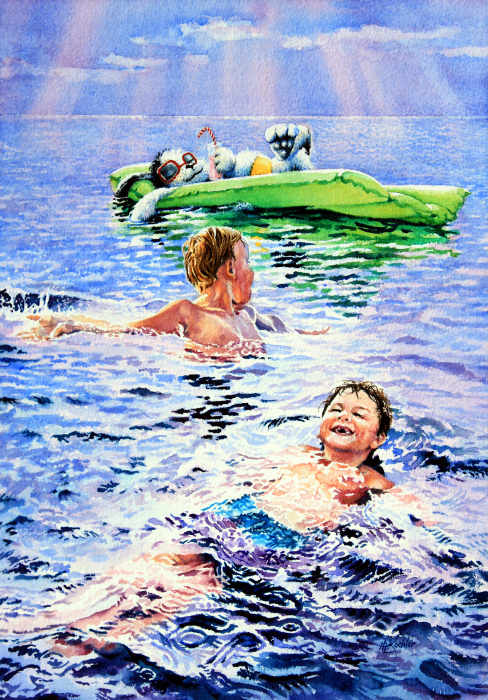 painting of children swimming at the beach