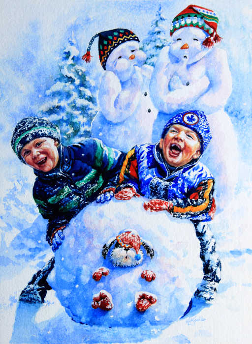 Painting of children playing in snow making a snowman