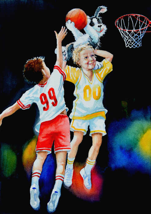 Painting of children playing basketball