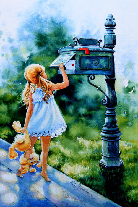 Painting Of A Little Girl Mailing A Letter