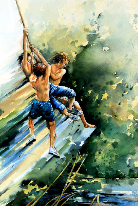 painting of boys jumping into a lake
