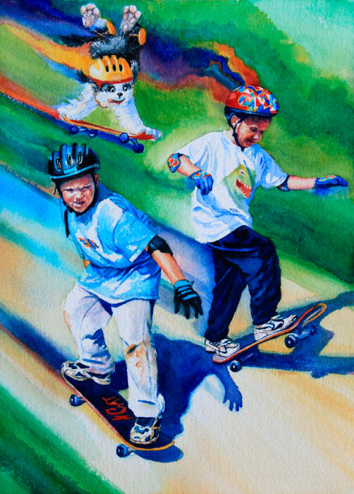 painting of boys on skateboards with dog