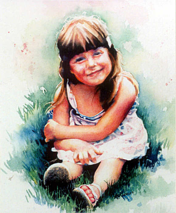 watercolor portrait of a little girl