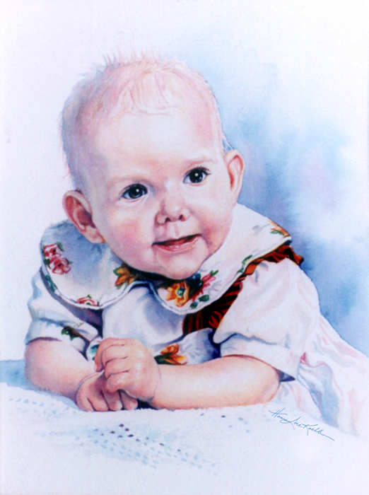 watercolor portrait of a baby