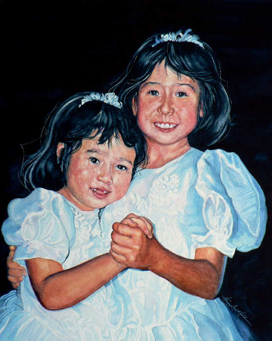 confirmation portrait of two little girls