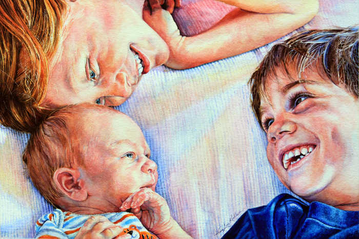 watercolor portrait of two children and a baby