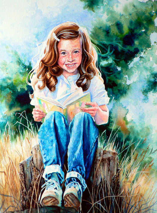child watercolor portrait of a girl reading a book