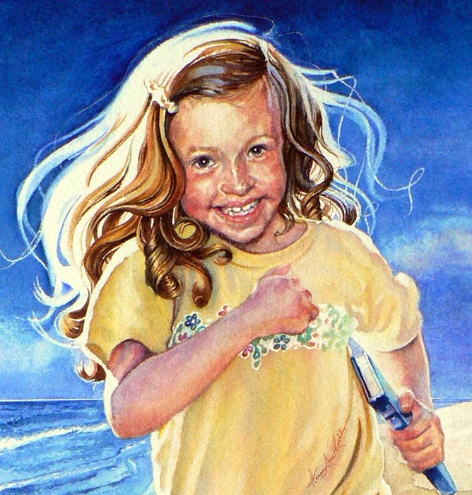 portrait of a girl running on the beach