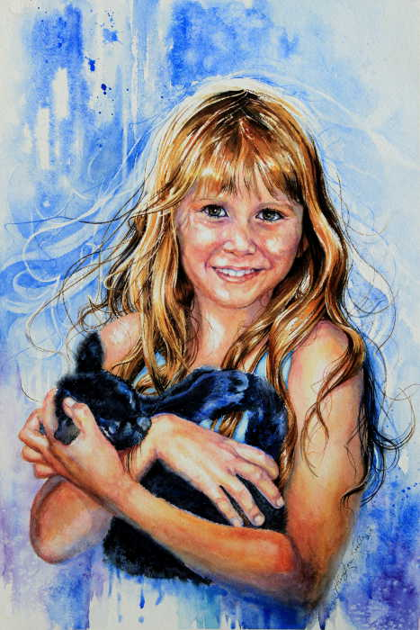 watercolor portrait of a girl with kitten