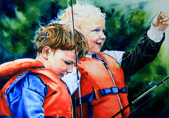 painting of children in life jackets
