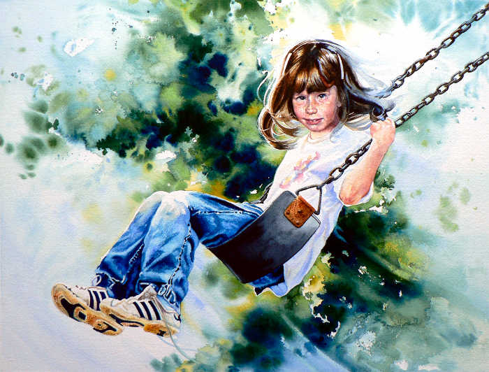portrait painting of a girl on a swing