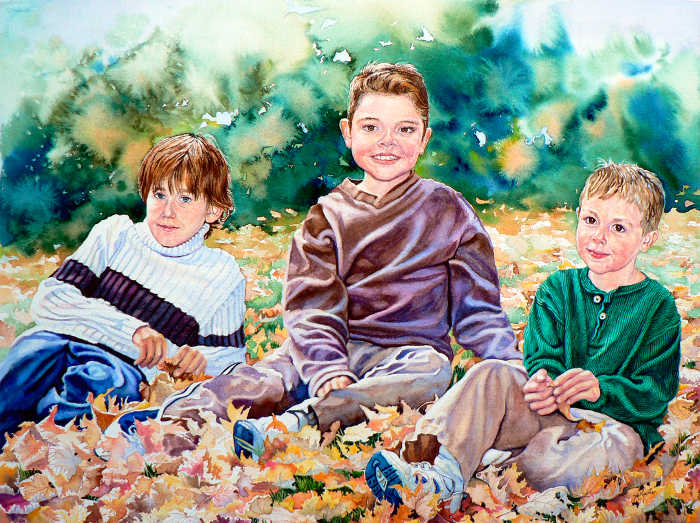 watercolor portrait painting of children