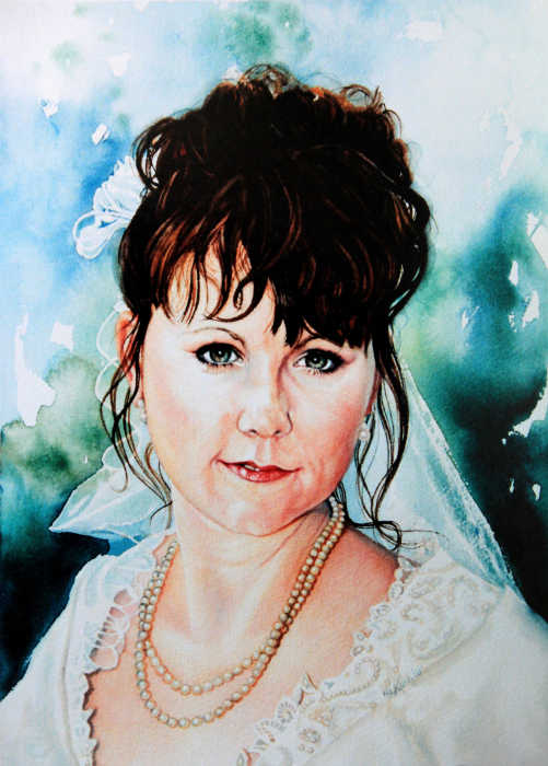 commission a Hand-painted wedding portrait direct from artist