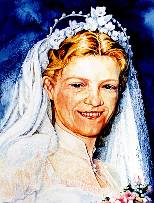 In loving memory bride portrait painting from photo