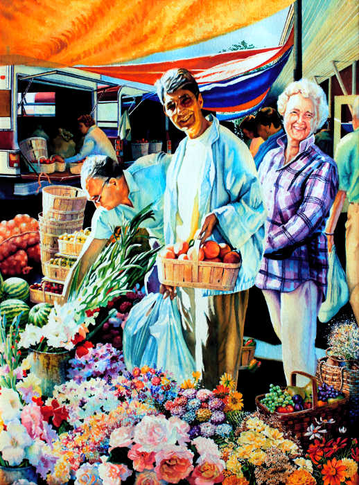 Open Air Country Farmers Market Painting