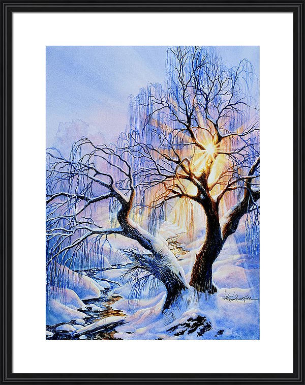 winter forest valley watercolor painting