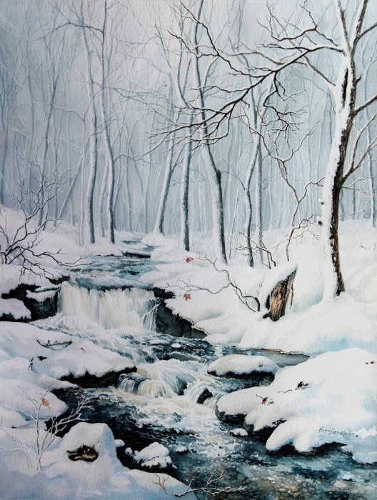 winter creek in the woods painting