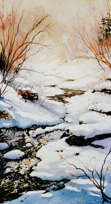 painting of a creek in the winter sun