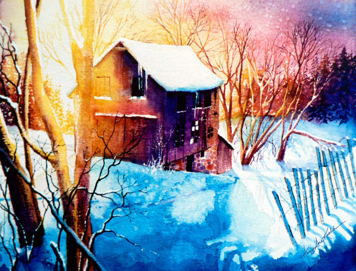 winter barn sunset landscape painting
