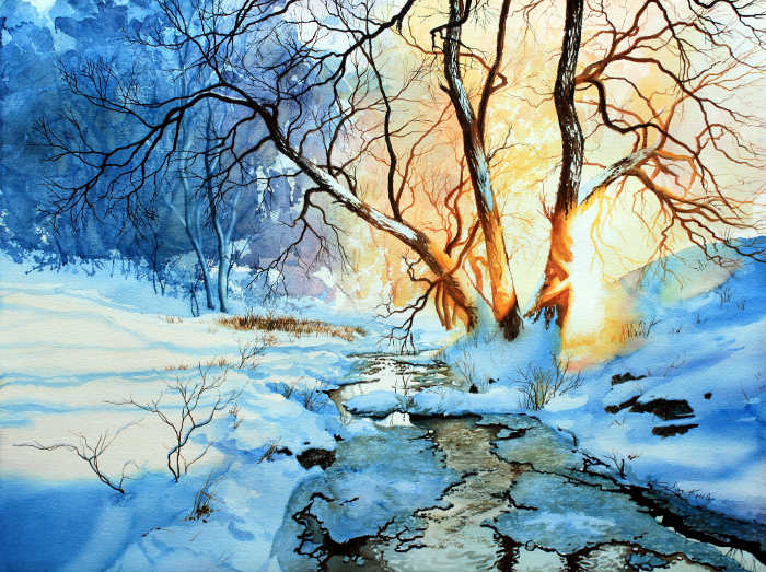 winter creek sunset through trees painting