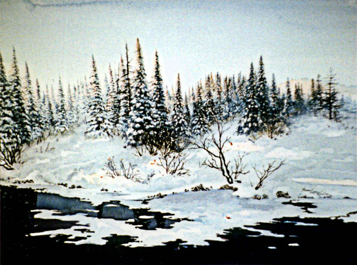 winter lake sunset on snow-covered evergreen trees painting