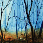 painting of misty woods in autumn