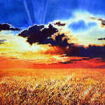 painting of wheat field stormy sky sunset