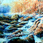 autumn stream waterfall colorful painting