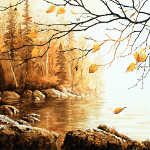 painting of Birch Island trees in autumn