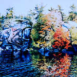 painting of colorful autumn trees and rocks reflecting in lake
