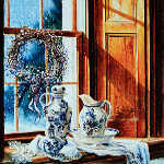 still life painting of objects on farmhouse window sill