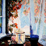 still life picture of autumn leaves and pot pourri jar in window