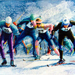 Olympic Nordic Skiing Painting