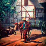 ox-cart oil painting