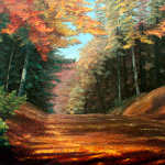 Cressman's Woods autumn woodland oil painting