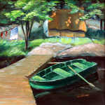 Algonquin Fishing Camp oil painting