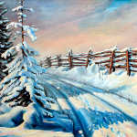 Winter Snow Tracks rail fence oil painting