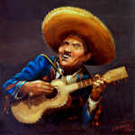oil painting of a Mexican guitar player