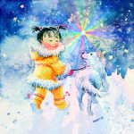 Child Throwing Snowballs For Dog Kids Room decor