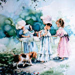 painting of girls playing dress-up selling lemonade