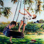 painting of girls playing on a tire swing
